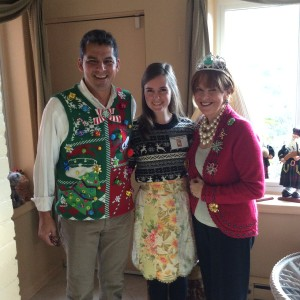 Susan Davis International holiday ugly sweater party Santa Claus