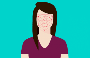 Graphic depicting facial recognition